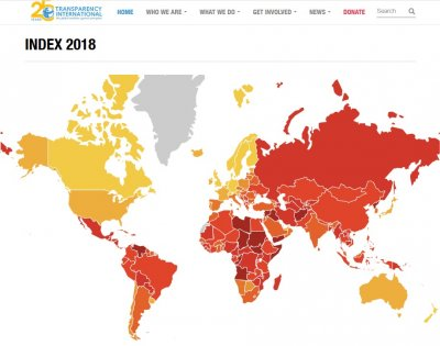 Źródło: Transparency International, Corruption Perceptions Index 2018, transparency.org